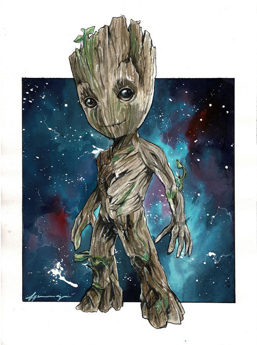 Baby Groot Infinity War Daniel Azconegui Original Drawing