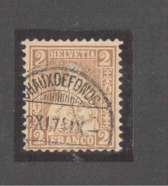 Switzerland 1874 - Sitting Helvetia perforated, 2 ct brown-red cancelled Signed Moser and certificate Berra - Zumstein 37a