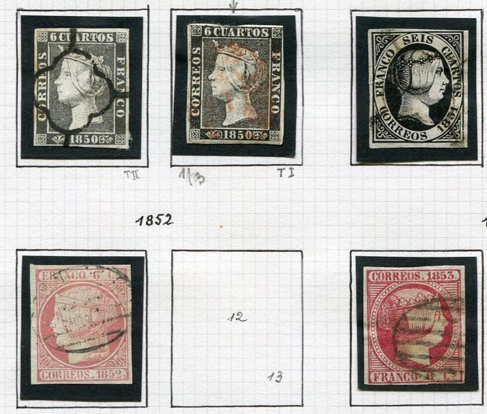 Spain 1867/72 - Small collection on albumpages