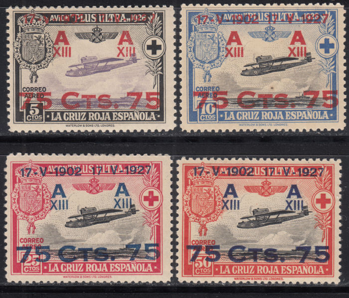Spain 1927 - 25th Anniversary of the Constitutional Oath by Alfonso XIII Aerial Mail - Edifil 388/391