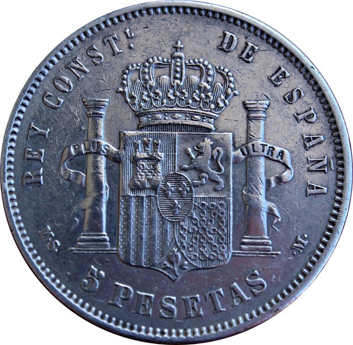 Spain Spain 5 Pesetas in silver of ALFONSO XII (29/12/1874 – 25/11/1885) 1882 *82*