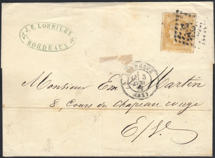 France 1871 - Cérès Bordeaux 10c bistre - yellow on local letter - Yvert no. 43B