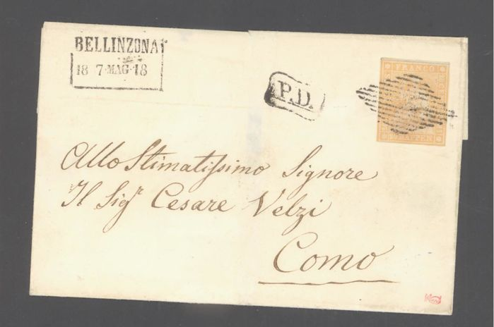 Switzerland 1854 - Letter with imperforate sitting Helvetia, 20 ct orange Signed Moser - Zumstein 25b