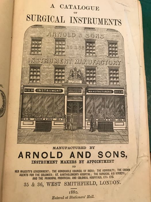 Arnold and Sons - A Catalogue of Surgical Instruments - 1880