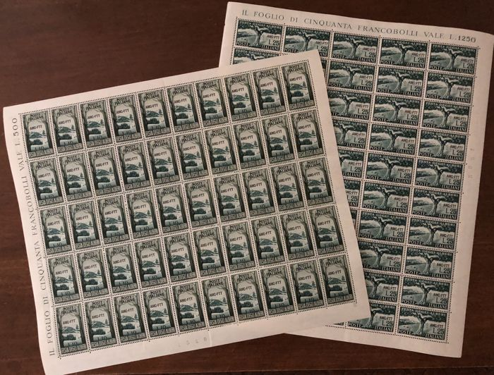 Trieste A 1951 - Lot of two series (Trees and Census) in whole sheets - Sass.  Nos  133/134 and 138/139