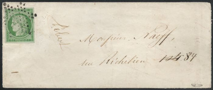 France 1853 – Cérès 15c green on letter Paris signed by BRUN with Certificate by BOULE – Yvert No. 2