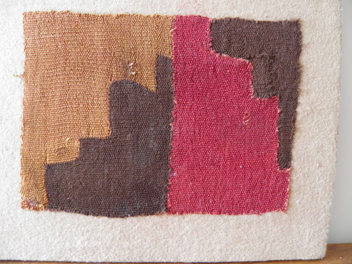 Pre-Columbian square part of woven textile in colour, Nacza, Peru