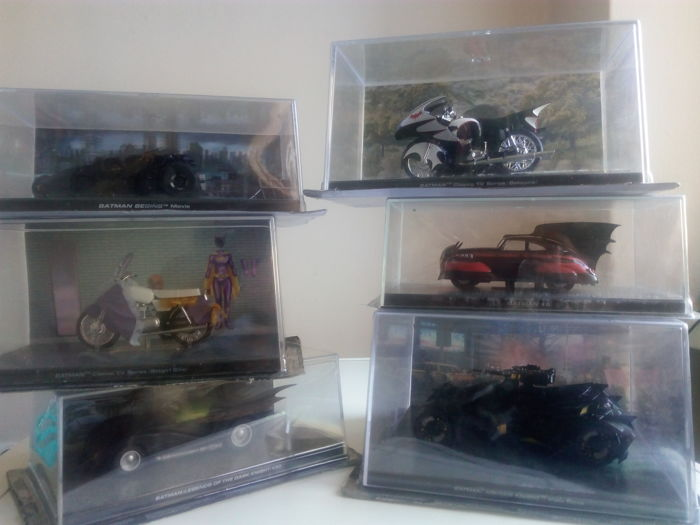 6 Batmobiles by Eaglemoss: BATMAN BEGINS Movie + BATMAN: LEGENDS OF THE DARK KNIGHT #30 + BATMAN: Classic TV Series (Batcycle)+BATMAN #5 + BATMAN Classic TV Series (Batgirl Bike) + BATMAN ARKHAM KNIGHT (Video Game)