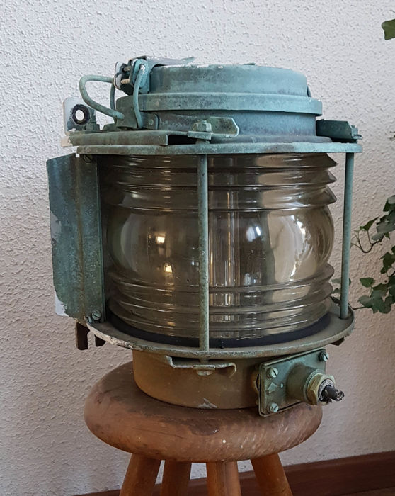Nice large heavy original industrial old copper ship's lamp - 20th century ship