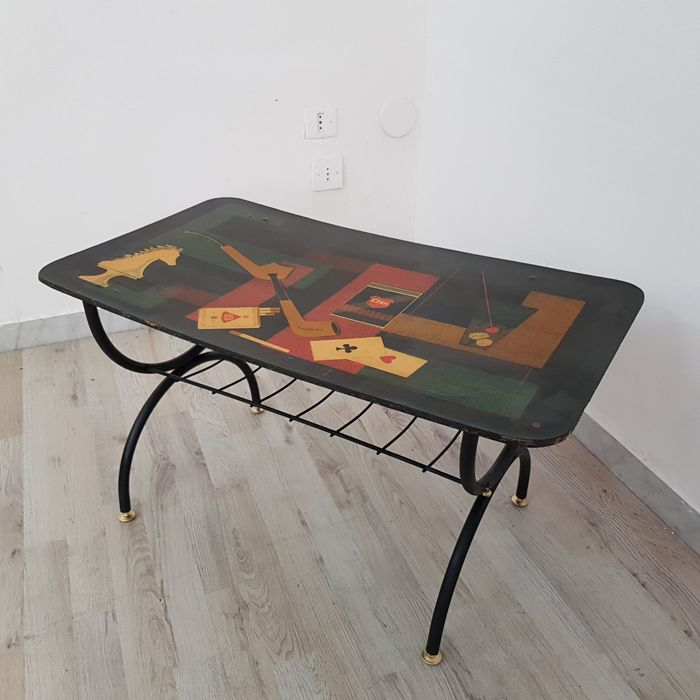 Unknown designer - Coffee table with magazine rack.