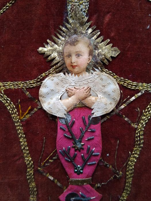 Baby Jesus - dressed holy image - monastic work - 1850 - in a coeval frame
