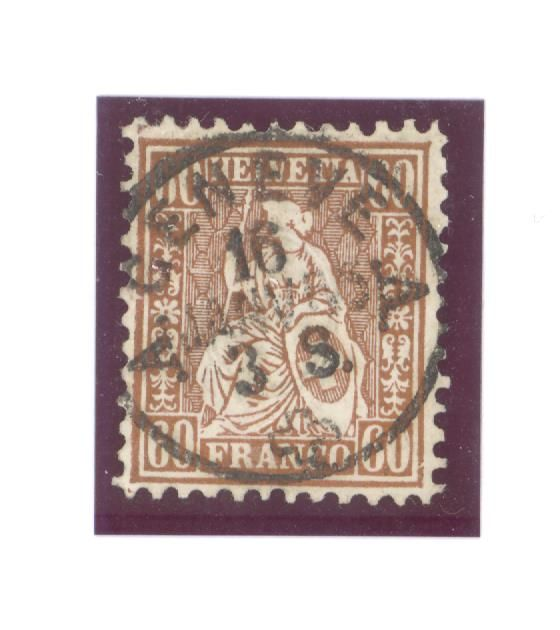Switzerland 1863 - Helvetia sitting perforated, 60 cts bronze copper-signed Berra-Zumstein 35