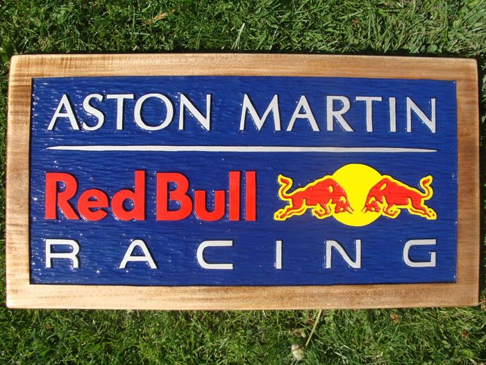ASTON MARTIN RED BULL RACING  Large unique handmade sculpting logo made from wood - 31 cm x 59 cm