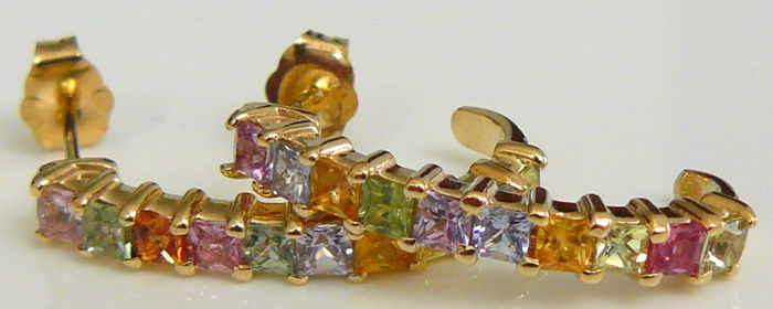 2.04 ct earrings with natural sapphires in various colours - no reserve price -