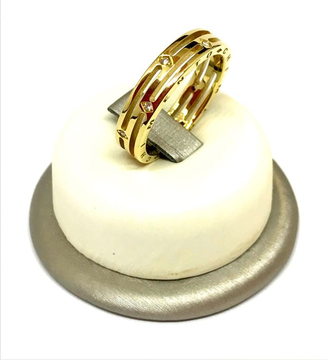 Chimento - 18 kt yellow gold engagement ring with diamonds, weight 7.60 g, size 23, adjustable