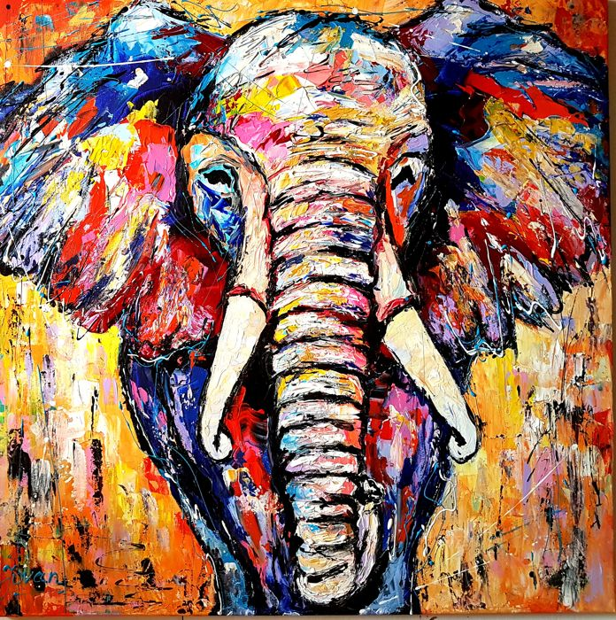 Jovan Srijemac -   Elephant in abstract colors
