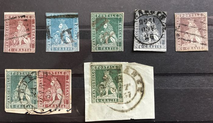 Tuscany, 1850/1857 – Selection of stamps from the first issue – Sass. No. 4/8.