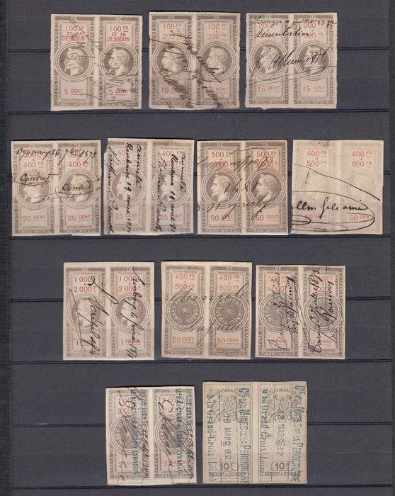 France 1864/1882 - Taxes, 12 pairs of Commerce  first issues. Yv. 26 to 32, 55, 80 to 82, 294.