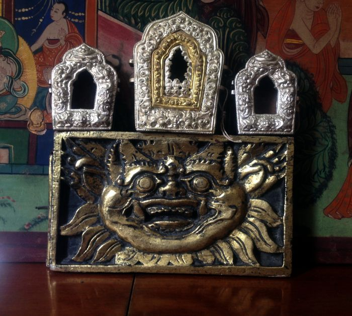 Set of Lacquer Mahakala  - Three old Hand made copper gilt Ghau Shrines - late 20th century