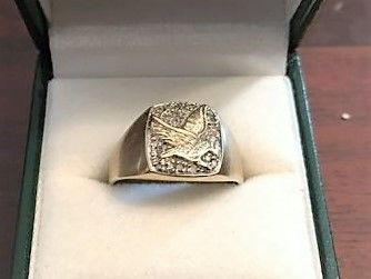 14k white and yellow gold Eagle ring whit 0,20ctc diamonds