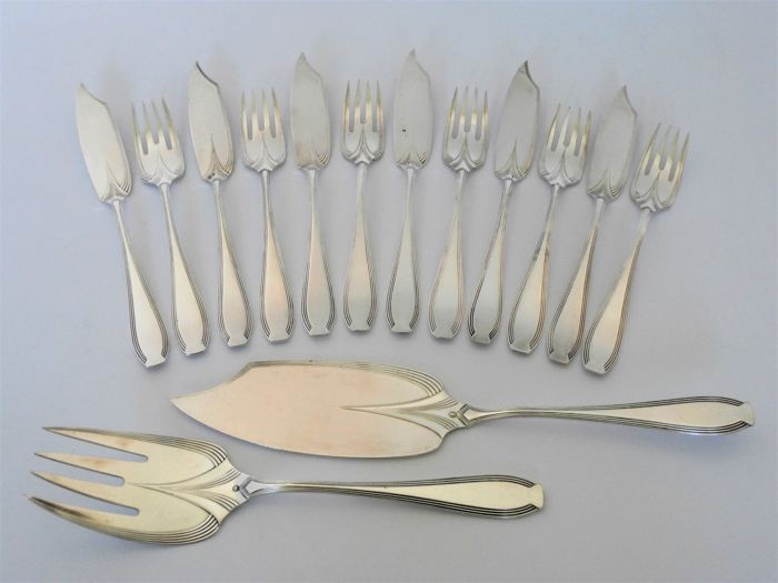 WMF Albin Müller - Art Nouveau silver-plated fish cutlery for 6 persons incl. fish-serving cutlery
