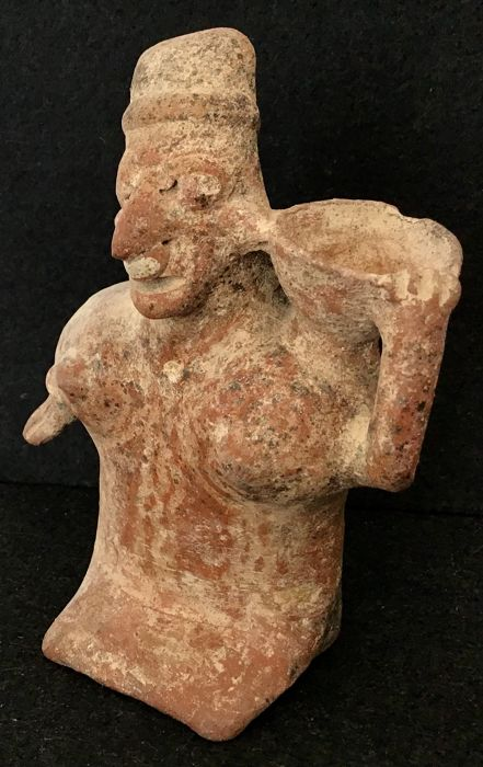 Pre-Columbian Jalisco female with bowl on shoulder - Mexico - 16 cm