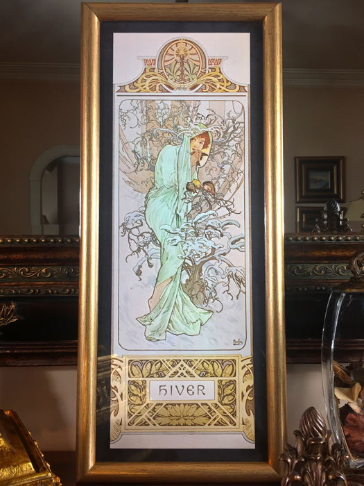 """""""Hiver"""" (1896) by Alphonse Mucha (after) - Golden wooden framed - France, 1970's."""