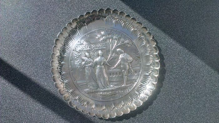 Beautiful, antique, decorated sterling silver bowl or plate, England, late 19th century