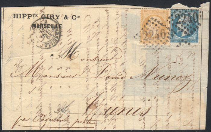France 1865 - letter from Marseille to Tunis (Africa) - Yvert no. 21 and 22
