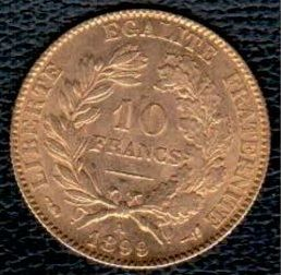 France - 10 Francs 1899 A - 'Cérès' - gold