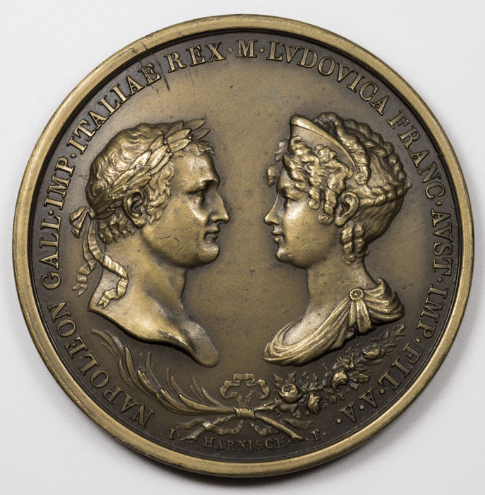 France - Napoleon First Empire medal, wedding with Marie Louise, by Harnisch and Zeichner, 1810 - Bronze