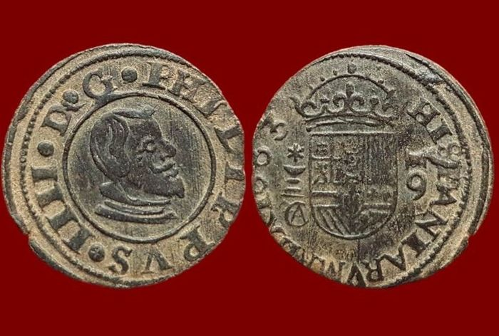 Spain - Casa de Austria, Felipe IV (1621–1665). 16 Maravedíes coins in copper, Cuenca 1663 - 25 mm/4 g.