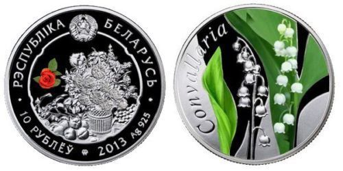 Belarus - 10 Roubles 2013 The Beauty of Flowers - Lily of the Valley - silver