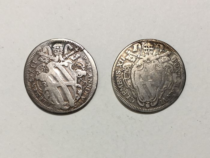 Papal State - Clement XII - Lot consisting of 2 Testoni, Mint of Rome - Silver