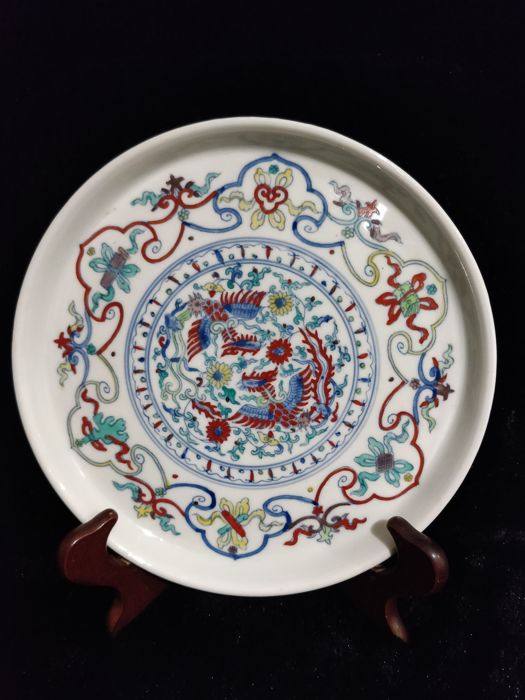 Polychrome porcelain plate with phoenix motif China - late 20th century