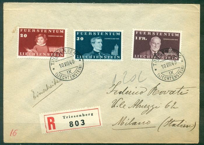 Liechtenstein 1939/1959 - Collection of 12 registered FCD covers
