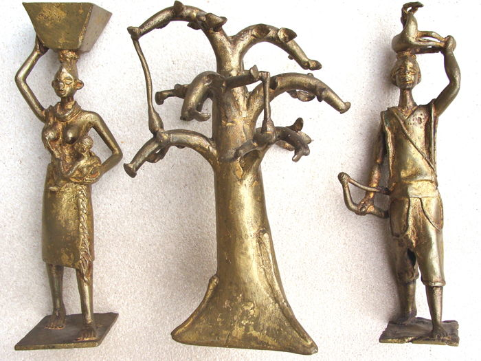 3 Bronze statuettes - Africa - late 20th century