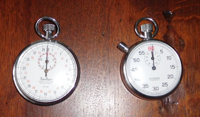 Hanhart No. 48/10 Lever 7 Jewels Stopwatch + Dugena Jongster Stopwatch / 2nd half 20th century