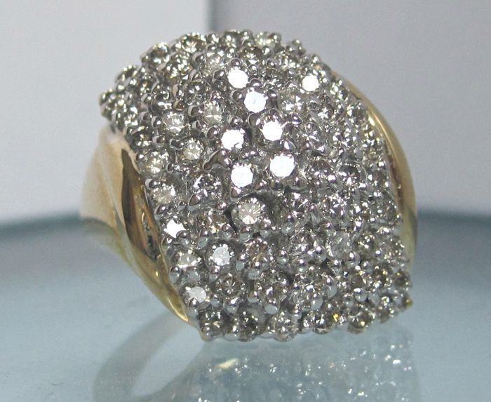 14k Gold Cocktail Cluster diamond ring 1.50 ct