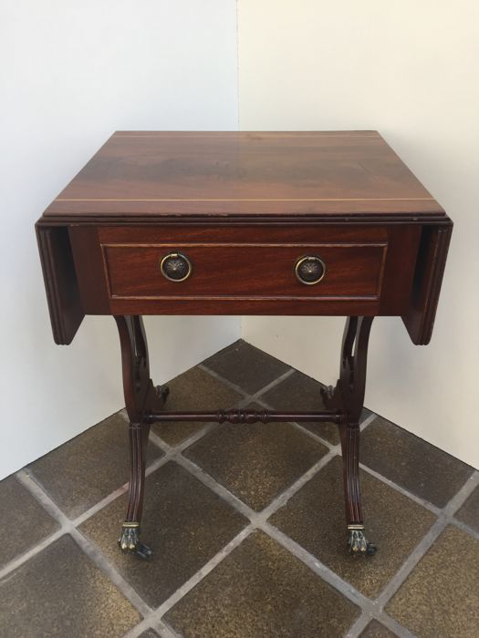 Mahogany Drop Leaf Side Table   England   Second Half 20th Century