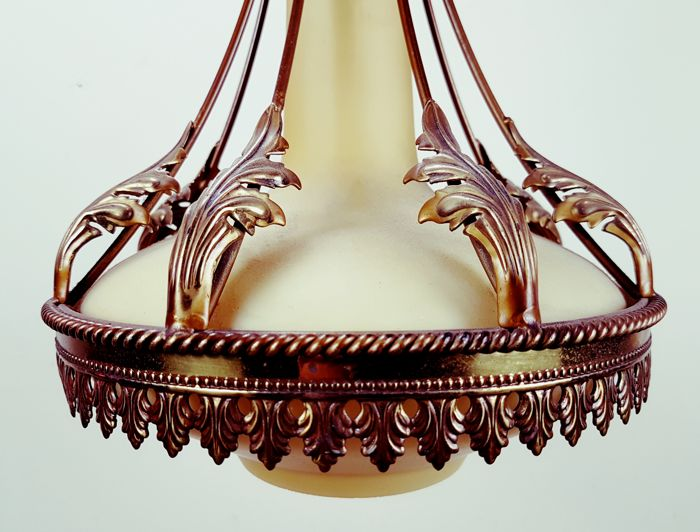 Ceiling lamp with brass ornaments and ochre-coloured glass chalice, Netherlands, mid 20th century