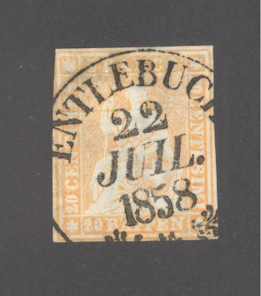 Swizterland - Imperforate sitting Helvetia, 20 ct orange cancelled Signed and certificate by Weid - Zumstein 25f