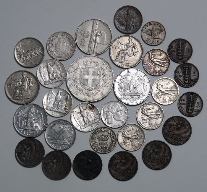 Kingdom of Italy - Lot of 29 coins, including 5 silver pieces
