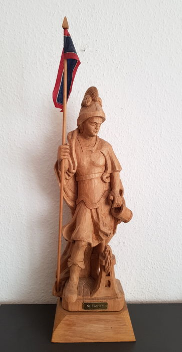 Saint Florian, Alpine patron saint on a pedestal, approx. 50 cm
