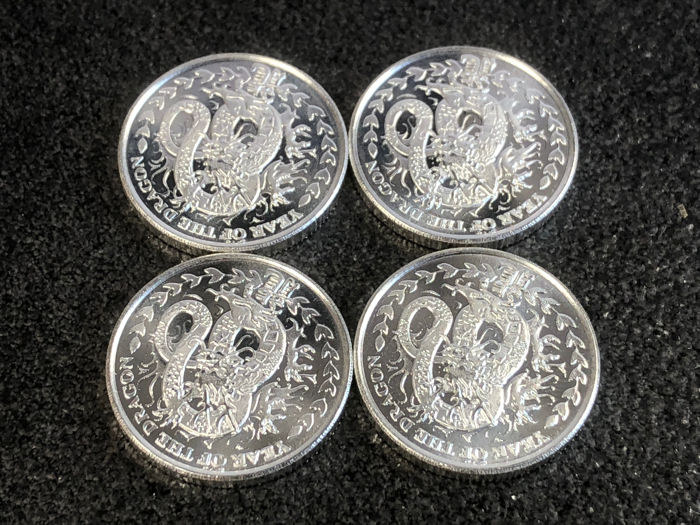 Somalia - 4 x 250 Shilling - Lunar Year of the Dragon 2012 - 4 x 1/4 oz 999 silver coin