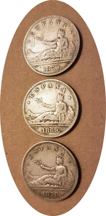 Spain - Provisional Government 2 pesetas: 1869 *69 & 1870 *74 & 1870 *75 - lot of 3 silver coins