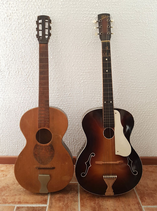 2 Special old guitars, 1960s, Famos - jazz model and parlor