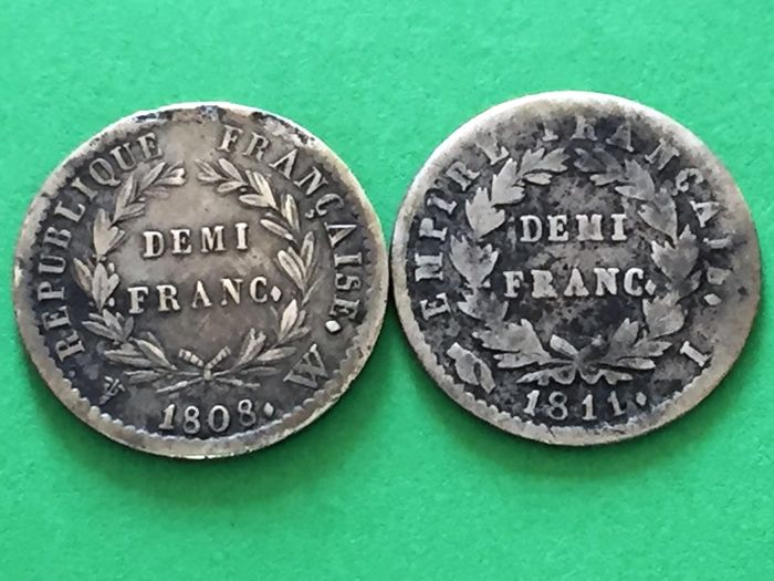France, 1 Lot of 2 Silver Coins: 1/2 France 1808 W and 1/2 France 1811 I Napoleon Emperor
