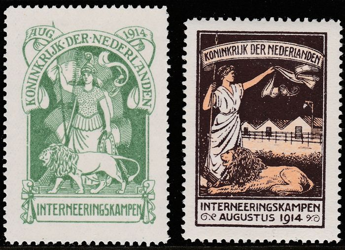 Nederland 1916 - Interneringszegels - NVPH IN1/IN2, met keurings-attest