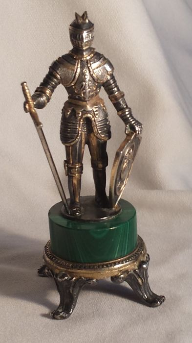 Very beautiful old knight sculptures 800 silver Italy, approx. 1920